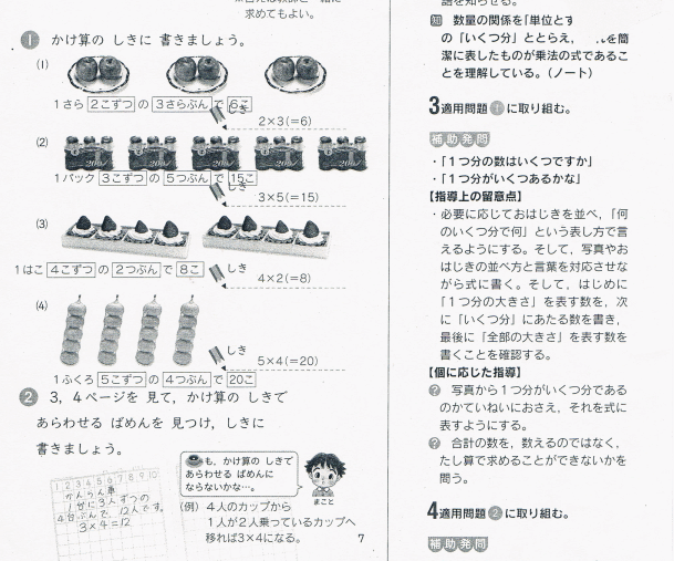 一皿に載っている数×何皿の例