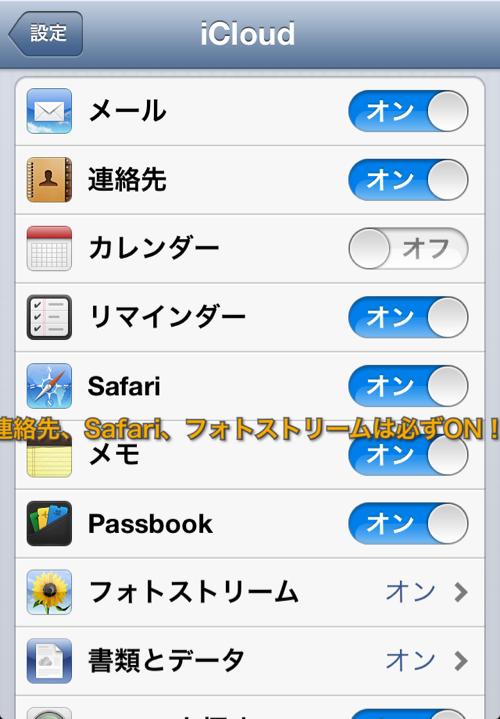 Safari、連絡先、フォトストリームをオンに。